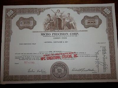 stock certificate Micro Precision Corp. - cancelled