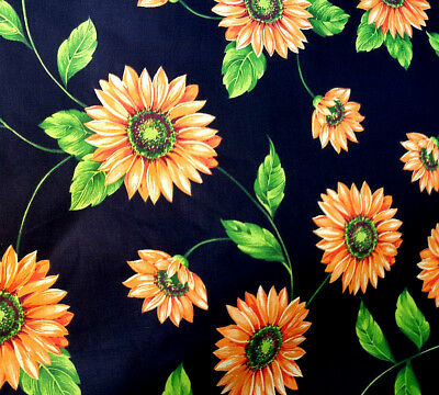 "Large Summer Sunflower Theam Floral Black Poly Cotton Fabric 60"" By The Yard"