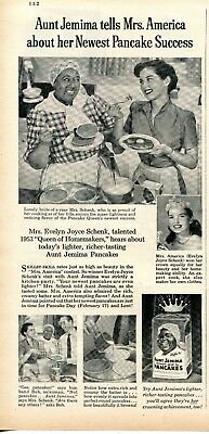 1953 Print Ad of Aunt Jemima Pancakes w Mrs America Evelyn Joyce Schenk