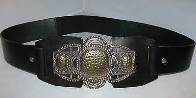 Gorgeous Chico's Antique Silver & Gold Colored Leather Belt Sz M
