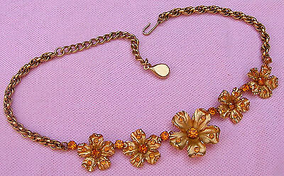 Vintage Antique Old 1940s 50s Gold P Topaz Rhinestone Big Flower Choker Necklace