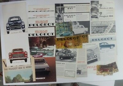 Lot of 25 1960's/1970's Peugeot brochure/flyer/postcards