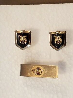 VIntage Khedive Temple Shriners Cuff Links and Tie Clasp Pin