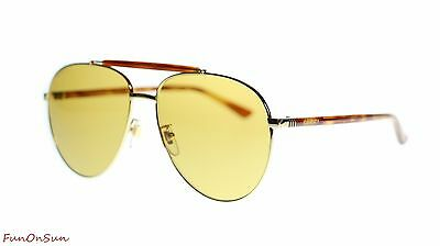 af52b64e4b0 Gucci Mens Aviator Sunglasses GG0014S 004 Gold Havana Brown Lens 60mm  Authentic