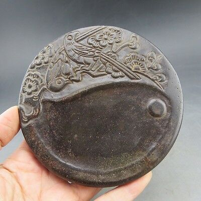 Chinese jade, hand-carved, natural jade, magpie, ink stone A223