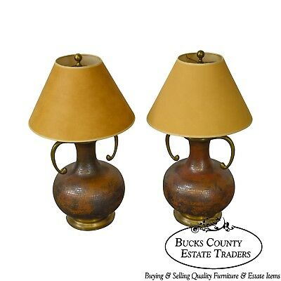 Chapman Hammered Copper & Brass Pair of Urn Lamps w/ Shades