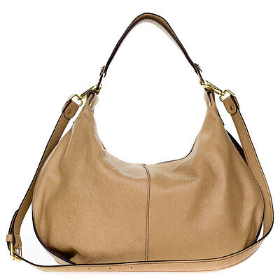 0858d2d725d3 GIANNI CHIARINI ITALIAN Made in Italy Beige Pebbled Leather Slouchy Hobo Bag