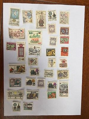 33 Czech used vintage -stamps mostly 1970s or earlier