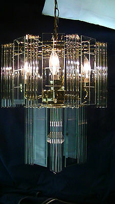 """vintage 96pc  2 tiered etched panes brass crystal rod chandelier 18""""tall x15""""wd"""