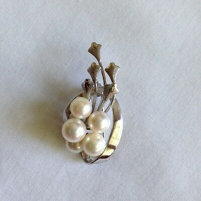 VTG Pin Brooch Silver Pearl Cluster Leaf Leaves Swirl Small
