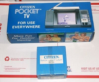 Citizen Pocket TV 03TA-0A + Matching Back Light 91TA - Both boxed and manuals