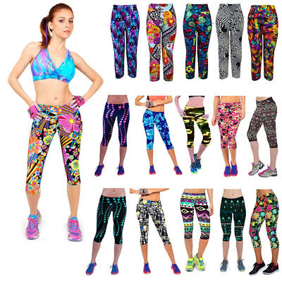 2019 Women Print High Waist Leggings Fitness Stretching Yoga Gym Cropped Pants
