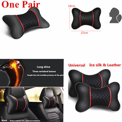 2 x Car Headrest Neck Pillow Ice Silk Cervical Pillows Leather Cushion Travel