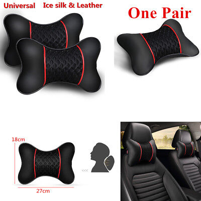 2Pc Car Seat Leather Ice silk Neck Pillows Cushion Four Seasons Travel Head rest