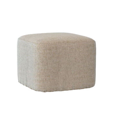 Modern Wood Footstool Ottoman Square Pouffe Stool Cover Protector Slipcover