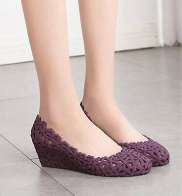 210be4c3dcb3 Womens Flower Hollow Out Slip On Wedge Med Heels Loafers Sweet Shoes Jelly  Flats