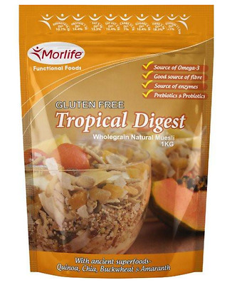 Morlife Tropical Digest Gluten Free Wholegrain Muesli | 400g | 1kg | Cereal