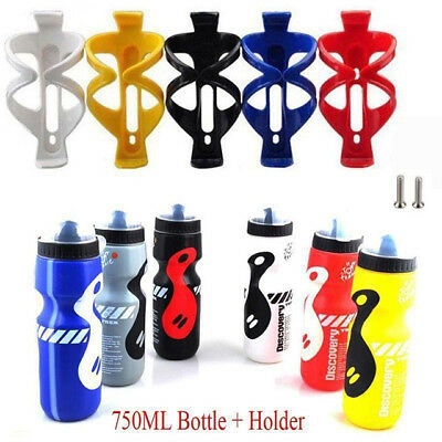 Cycling Bicycle Bike Plastic Water Bottle Cage Holder + 750ml Water Drink Bottle