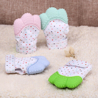 Baby Silicone Mitts Teething Mitten Glove Candy Wrapper Sound Soft Teether Toy