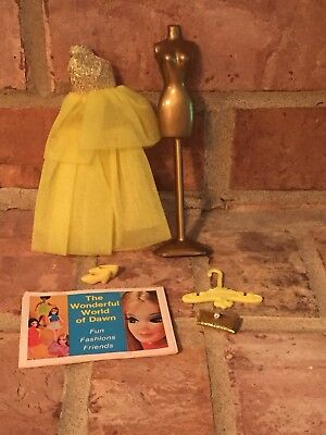 Vintage Topper Dawn Doll Outfit Yellow Gold Glow Swirl Gown