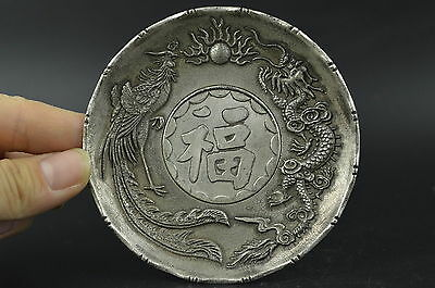 Collectibles Miao Silver Carving Noble Lifelike Dragon Phoenix Lucky Noble Plate