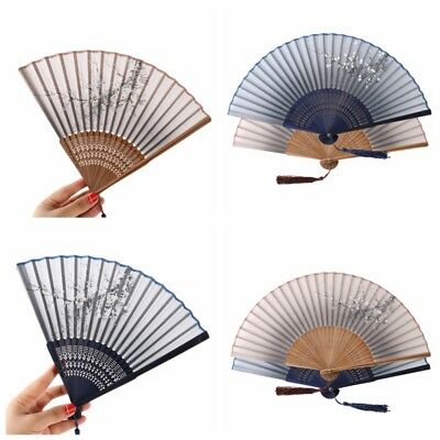 US Chinese Hand Held Fan Fabric Folding Fan Wedding Party Decor Dancing Tools