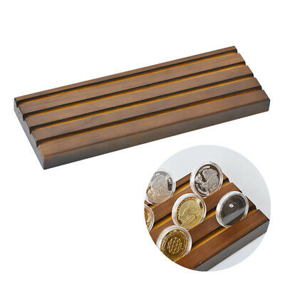 """WR Solid Wooden Coin Display Rack Coin Collector Holder Stand 4 Row 12.9"""" x4.49"""""""