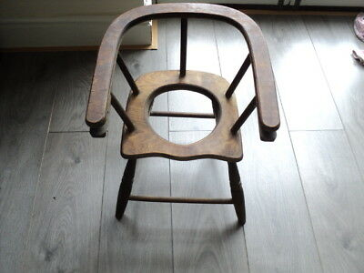 Antique Child'S Wooden Potty Training Chair Is Good For Doll Or Teddy Display