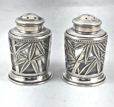 Japanese Sterling & Glass Bamboo Salt & Pepper Shakers