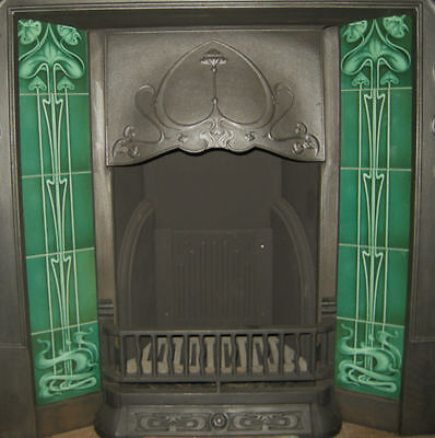 Art Nouveau Fireplace Tile Set2 X 5 Tile Panels An25 Bottle Green Gas