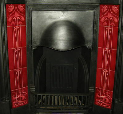 Art Nouveau Fireplace Tile Set 2 X 5 Tile Panels An 25 Red Gas / Decorative