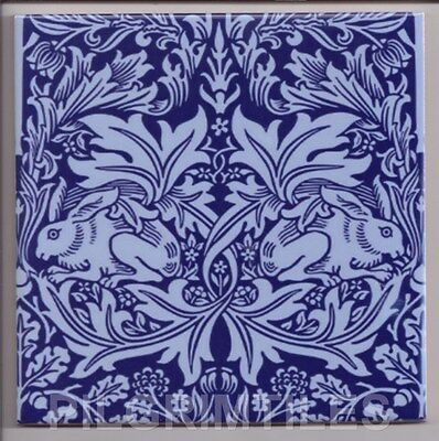 Metric Porcelain Tile William Morris Brer Rabbit Blue Walls Floors Kitchens Bath