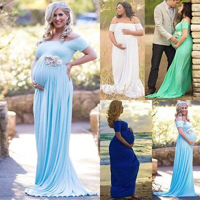 US Pregnant Women Long Maxi Ball Gown Photography Prop Clothes Maternity Dress