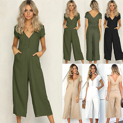UK Women Holiday Button Pocket Long Playsuit Ladies Summer Romper Jumpsuit Dress