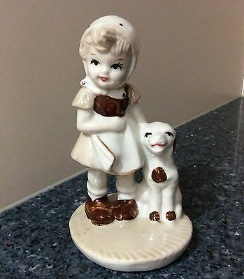 Brown & White Girl with a Dog Figurine Made in Taiwan