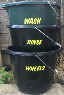 2 Sets WASH RINSE WHEELS - NEON YELLOW - Car Washing Detailing Bucket Stickers
