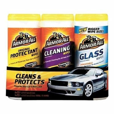 Armor All 18782 3-Pack Protectant, Cleaning, and Glass Wipes