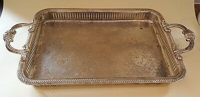 Silver plate electroplate vintage Art Deco antique rectangular handled tray