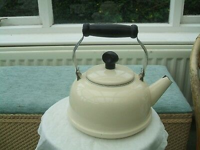 Enamelled kettle.  Cream with folding handle. 1.5 ltr Capacity, Stovetop Camping
