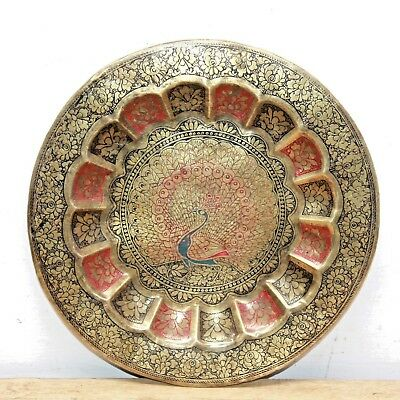1940s Vintage Beautiful Hand Carved Peacock Enameled Brass Wall Hanging Plaque