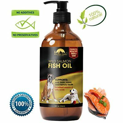 LARGE 32 FL OZ Bottle Natural Organic Liquid Salmon Fish Oil for Dogs, Cats,