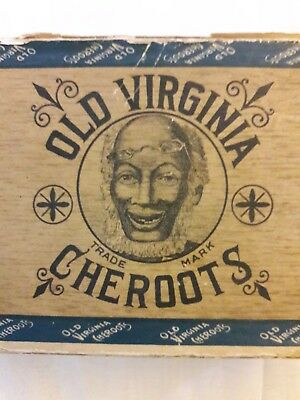 "1900's Old Virginia Cheroots Cigar Box ""5 FOR 10 CENTS"""