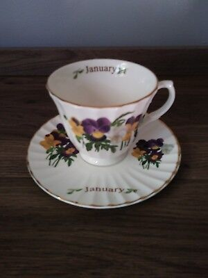 Royal Patrician 'JANUARY' Pansy Motif Cup and Saucer England