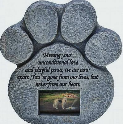 Paw Print Pet Memorial Stone -- Features a Photo Frame and Sympathy Poem -