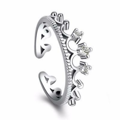 Micro-inlay Cubic Zirconia 925 Sterling Silver Royal Crown Adjustable Band Ring
