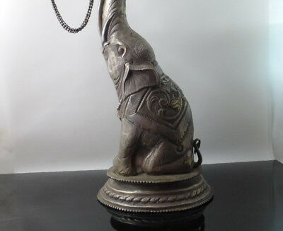 Antique Chased Silver Elephant Form Container with Birds