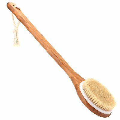 Bath Brush with Long Bamboo Handle - Natural Bristle Back Scrubber for