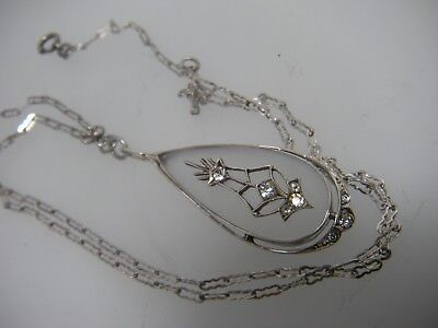 Antique Art Deco Sterling Silver Frosted Glass Crystal Pendant Necklace w/ chain