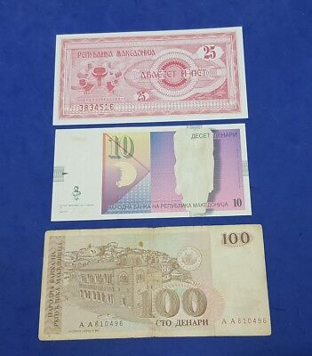 Mazedonien Macedonia - 3 x BANKNOTEN - ALL DIFFERENT - Check Images
