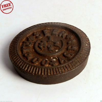 1850's Indian Antique Hand Crafted Iron Mercantile Measuring Weight 1 Seer 4268